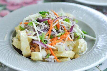 fried fish maw salad or spicy salad,Thai food Stock Photo