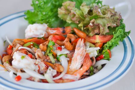 shrimp salad or spicy salad, Thai food Stock Photo