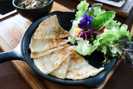 naan bread or roti with curry soup, Thai food