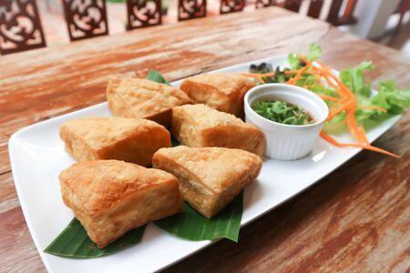 deep fried tofu with dip ,vegetarian food