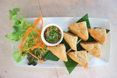 deep fried tofu with dip ,vegetarian food