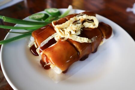 rice roll, fresh roll or vegetable roll with egg topping