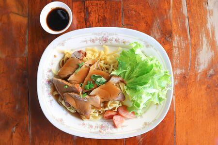chinese noodle, or plan noodle , pork noodles