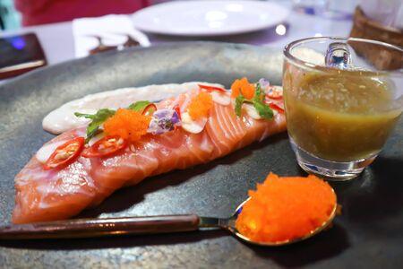 raw salmon, sashimi or sliced salmon Stock fotó