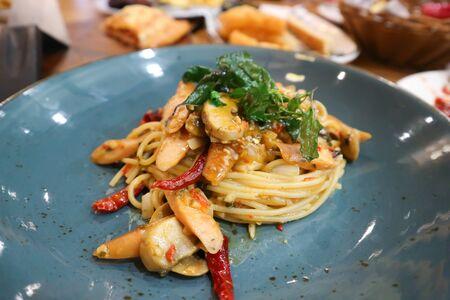 spaghetti, spicy spaghetti or sausage spaghetti Banco de Imagens