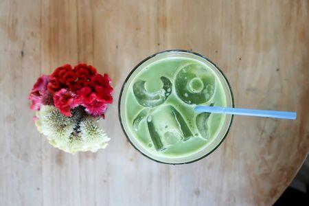 green tea or matcha green tea, matcha latte or iced green tea
