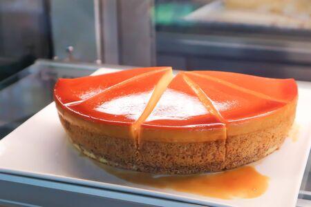 custard cake or custard cake pudding dish