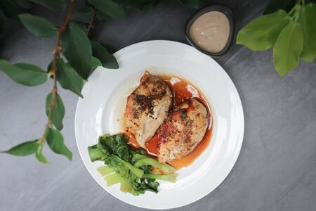grilled chicken, pepper chicken or chicken steak Stock Photo