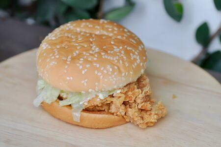 chicken burger or hamburger, bread with stuffed Stock Photo