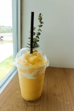 mango yogurt smoothie, mango juice or mango smoothie
