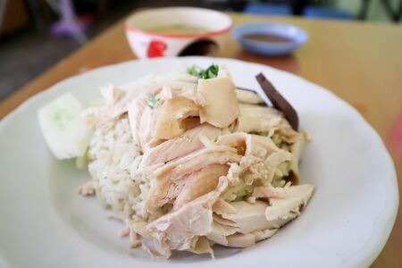chicken and rice  ,chicken rice or Hainanese chicken rice
