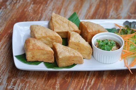 fried tofu , fried bean curd or deep fried tofu