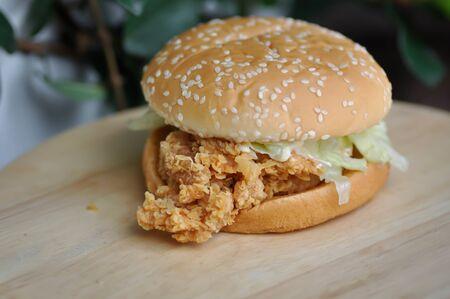 chicken burger or hamburger, burger Stock Photo