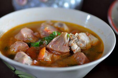 vegetable and pork soup or jackfruit soup, Thai soup Stock Photo