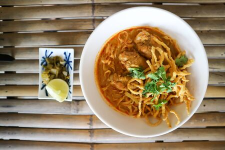 noodles or chicken curry noodles ,Thai food 版權商用圖片