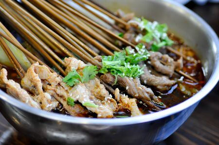 grilled pork in spicy soup, Chinese food