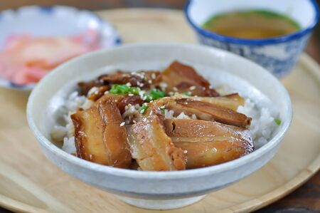 rice topped with pork or pork stew, Japanese food