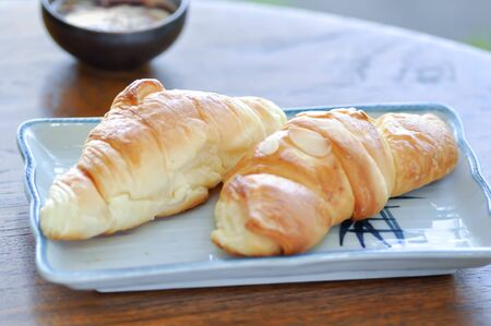 croissant and almond croissant with dip