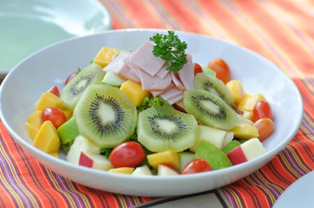 ham salad,mixed salad or fruit and vegetable salad with dressing