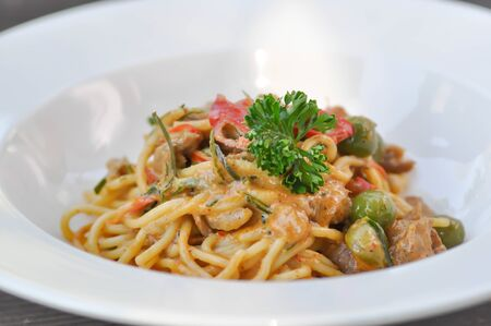 spicy pasta, spicy spaghetti or curry pasta in Thai food