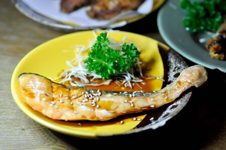 grilled salmon or salmon steak , Japanese food