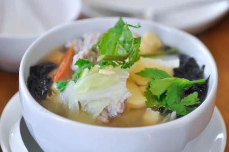 tofu soup, seaweed soup or vegetable soup
