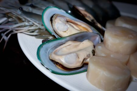 raw mussel, raw scallops and raw shrimp for cook Imagens