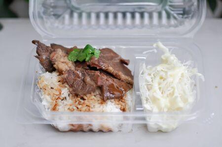 grilled pork or roasted pork with rice in the box Zdjęcie Seryjne