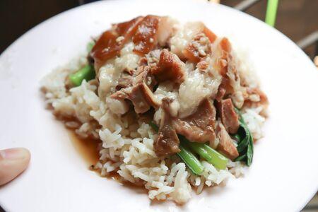 boiled pork, fresh ham on rice or pork and rice Archivio Fotografico