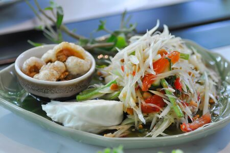 papaya salad or spicy salad,Thai spicy salad
