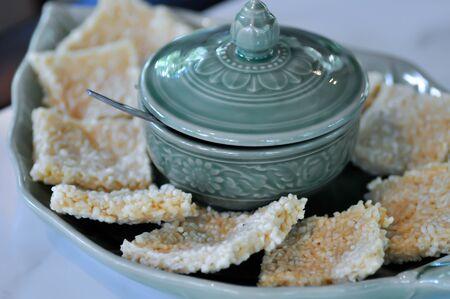 crispy rice,crispy rice cake or rice crackers