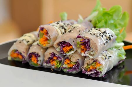 rice roll, fresh roll or vegetable roll Reklamní fotografie