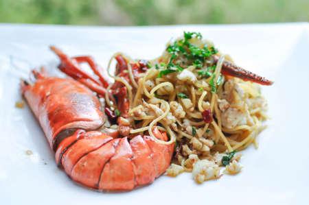 spaghetti, lobster spaghetti or shrimp spaghetti