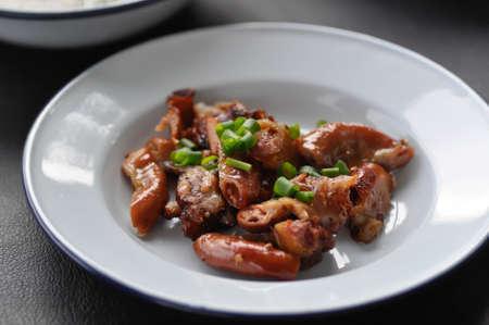 grilled chitterlings or roast chitterlings,Thai food Banco de Imagens