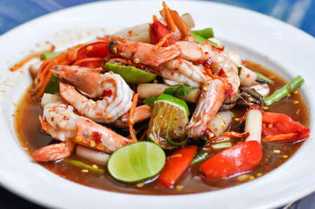 spicy salad or spicy shrimp salad, som tam or Thai food