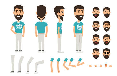 Front, side, back view animated character. Man with a beard character creation set with various views, face emotions, poses and gestures.  イラスト・ベクター素材