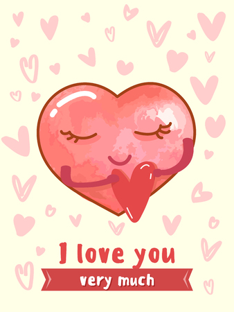 The character of the heart embraces a small red heart with text and doodles, hearted characters. I very love you very much. Illustrations, poster, banner, wedding templates