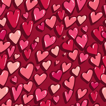 Vector seamless pattern with hearts with nice Happy Valentine's Day mood Will be perfect to use in wrapped paper, textile, fabric.