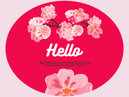 Pink cherry flowers. Hello. There is place for your text on background.pink background, banner template, posters, flyer, poster