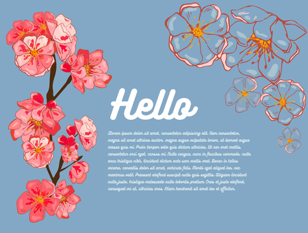spring banner. Pink sakura flowers, outlines of flowers. Hi! In the background there is room for your text. template banner, poster, wedding invitation, poster, flyer, print. Hand drawing