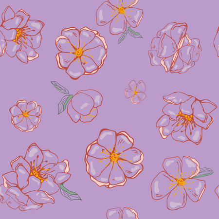 flowers on a violet background in vector