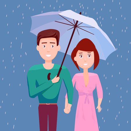 Couple Under Umbrella Together In The Rain, They Happy Rainy Season, Monsoon, Raindrop, People, Relationship, Clothing Banco de Imagens - 112374362