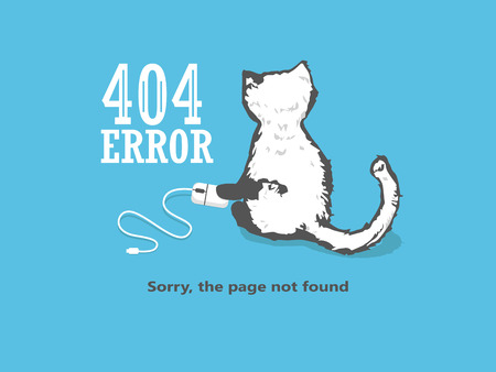 404 Page Not Found Error, a hand drawn vector doodle illustration of internet connection problem concept. cat holds a computer mouse Illustration