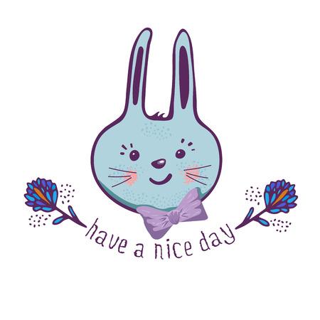 Cute Bunny.cartoon dibujado a mano ilustración vectorial. la frase que tengas un buen día. Se puede utilizar para estampado de camisetas de bebé, diseño de estampado de moda, ropa para niños, saludo de celebración de baby shower y tarjeta de invitación.
