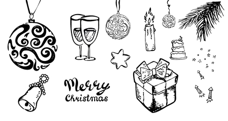 Hand-Drawn Christmas Sketchy Doodles- Vector Illustration Design Elements.set ,candle,glasses, fireworks star bell tree  イラスト・ベクター素材
