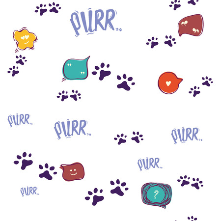 Doodle cat paw seamless background.conversation bubble,mustache, nose, of cats, emotions, purr. Abstract vector seamless pattern for card, invitation, poster, banner, placard, diary, album, sketch book cover etc. Domestic animal