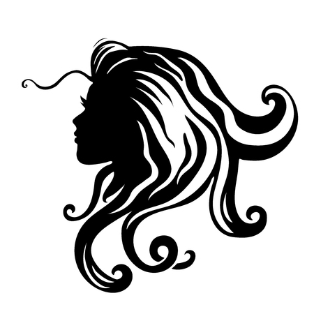 Vector silhouettes of girl hairstyles. profile. Girls Silhouette .Silhouette of beautiful woman. Illustration