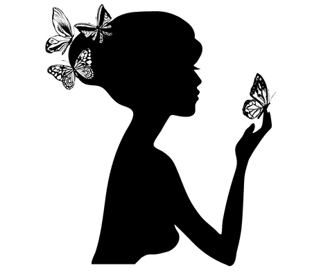 beauty girl silhouette with butterfly. Vector illustration of woman beauty salon Banque d'images - 110336415