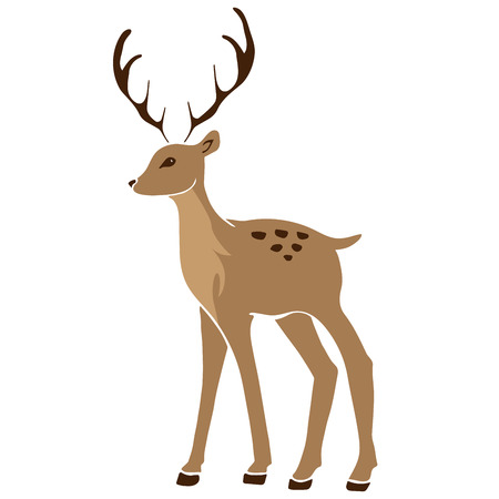 Beautiful noble sketch deer are ruminant mammal in family Cervidae. Side view. hand drawn picture sketchy.
