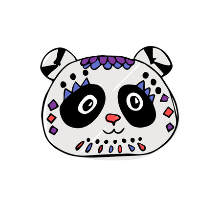 head of panda with geometric pattern.design for holiday greeting card and invitation wedding, birthday. Valentine s day and Happy love day. printing on fabric, t-shirt. kids style. hand drawing.